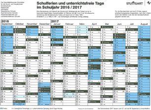 Ferienplan Stuttgart 15-16
