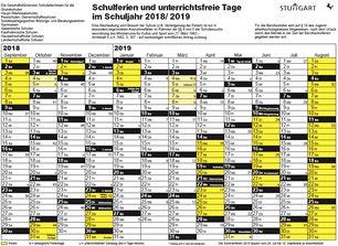 Ferienplan Stuttgart 18-19