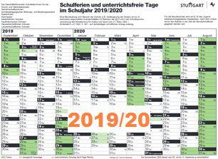 Ferienplan Stuttgart 19-20